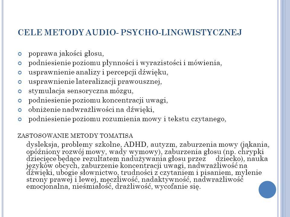 CELE METODY AUDIO- PSYCHO-LINGWISTYCZNEJ