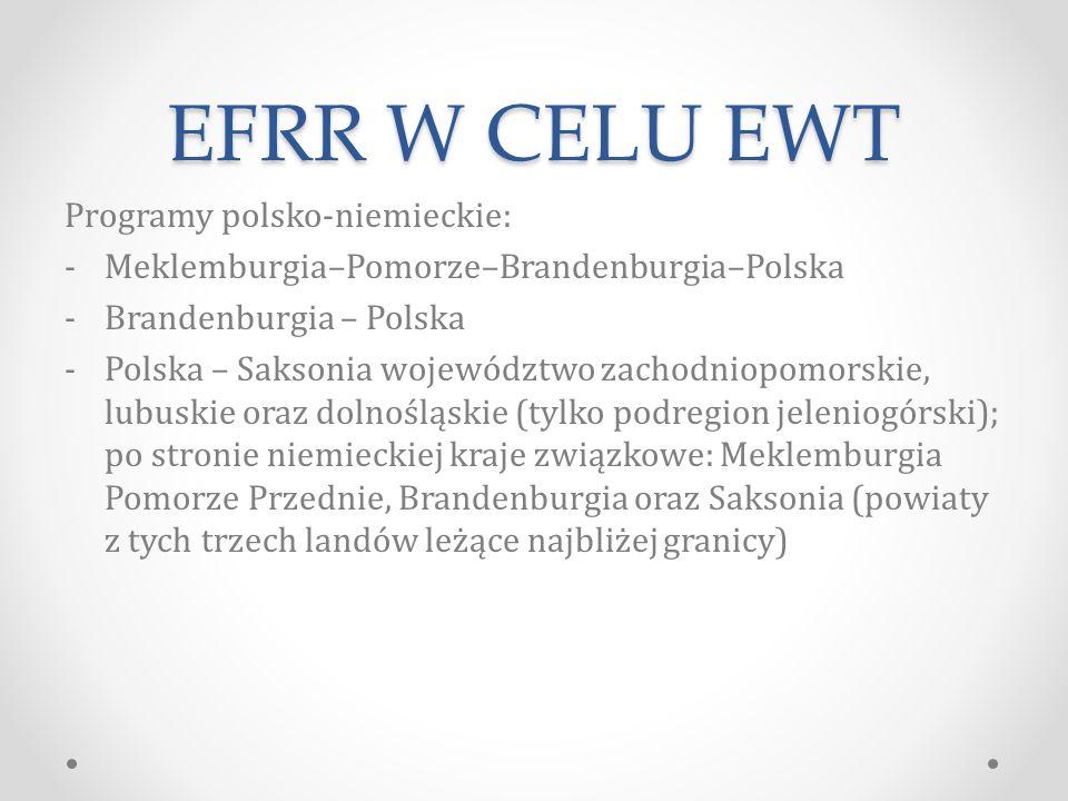 EFRR W CELU EWT Programy polsko-niemieckie: