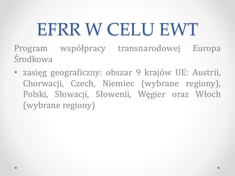 EFRR W CELU EWT Program współpracy transnarodowej Europa Środkowa