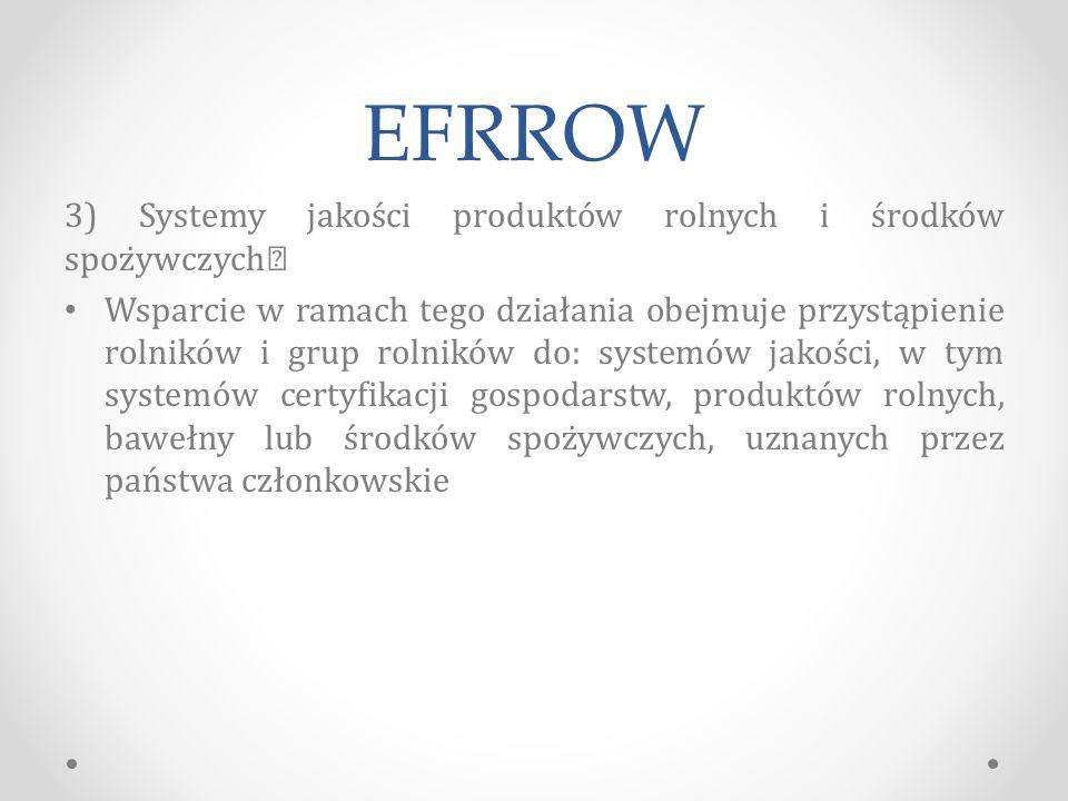 EFRROW 3) Systemy jakości produktów rolnych i środków spożywczych