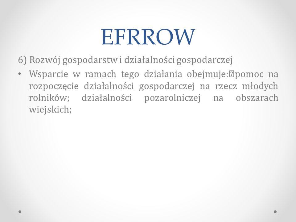 EFRROW 6) Rozwój gospodarstw i działalności gospodarczej