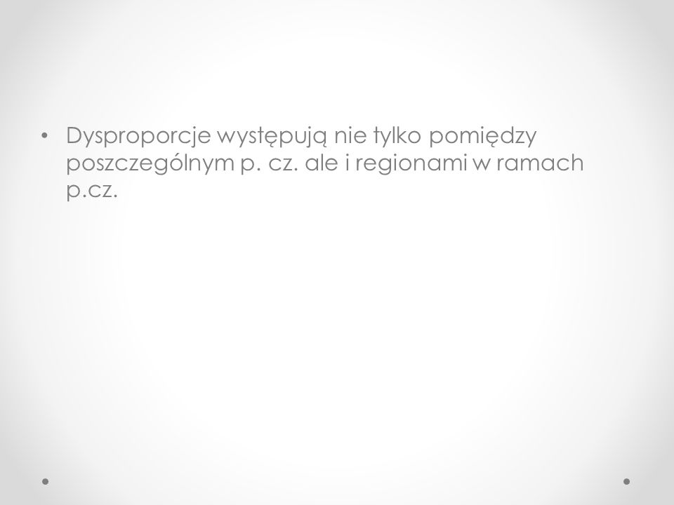 Dysproporcje występują nie tylko pomiędzy poszczególnym p. cz