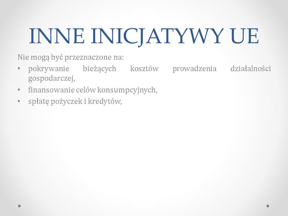 INNE INICJATYWY UE Nie mogą być przeznaczone na: