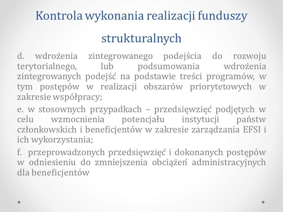 Kontrola wykonania realizacji funduszy strukturalnych