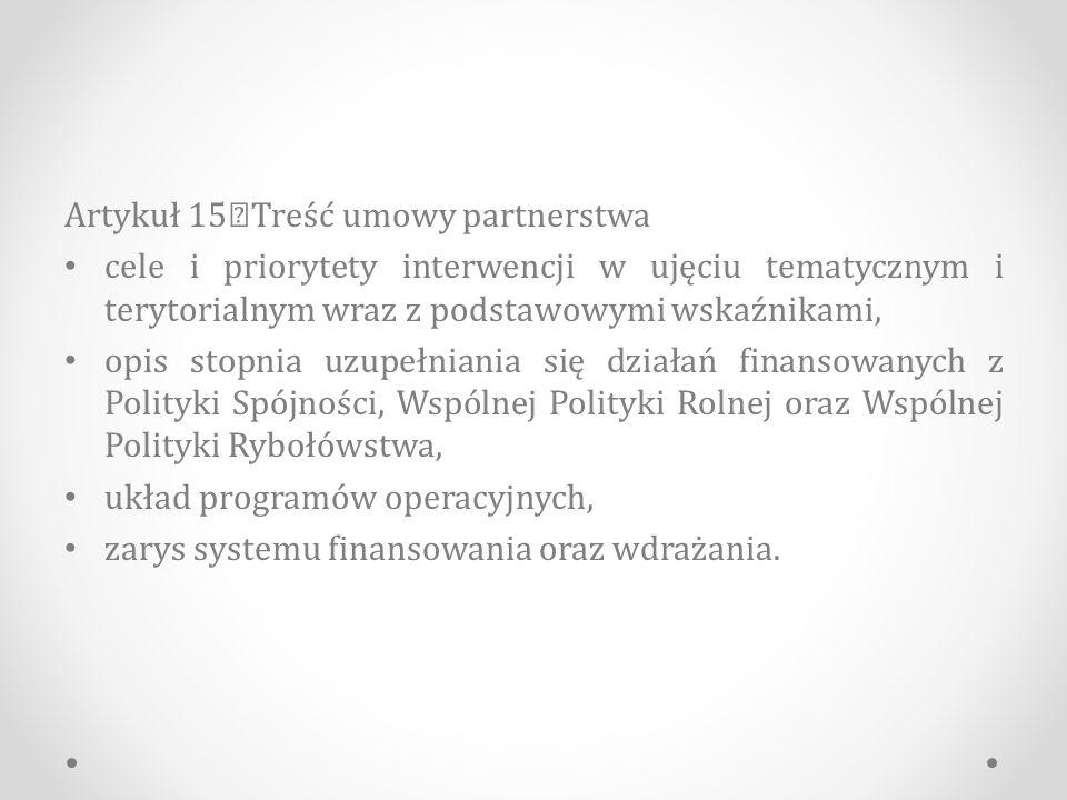 Artykuł 15 Treść umowy partnerstwa