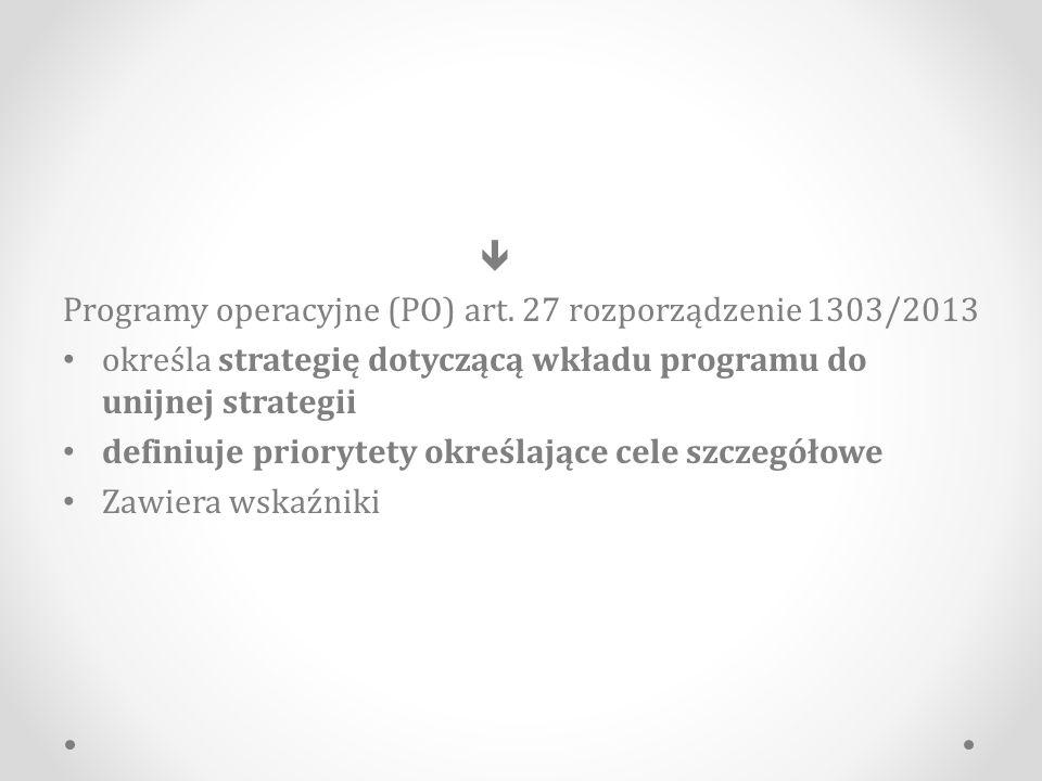  Programy operacyjne (PO) art. 27 rozporządzenie 1303/2013. określa strategię dotyczącą wkładu programu do unijnej strategii.