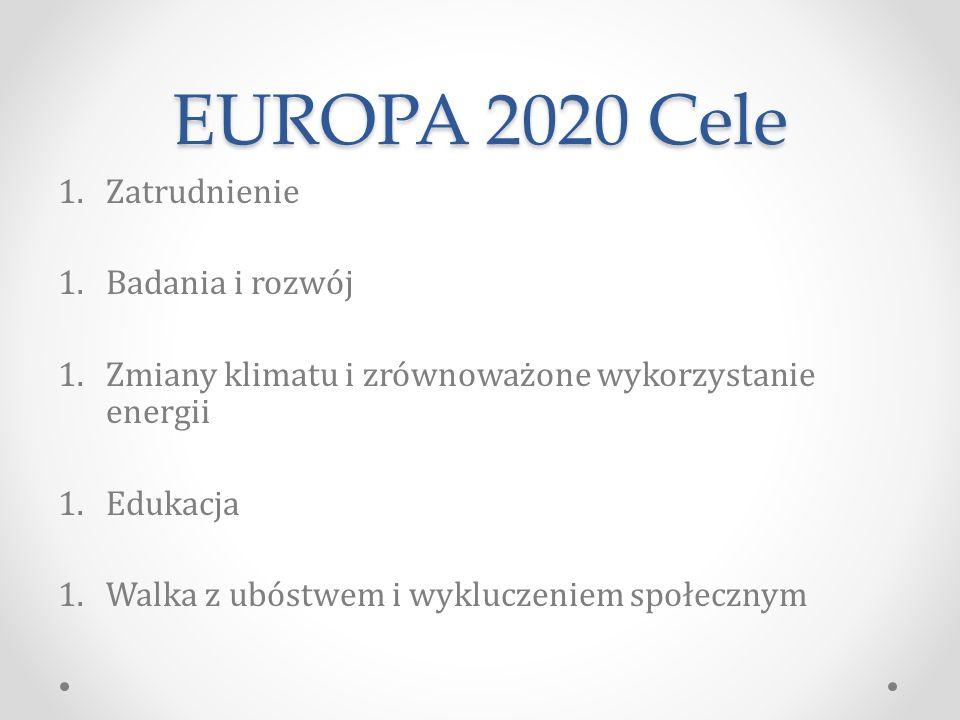 EUROPA 2020 Cele Zatrudnienie Badania i rozwój
