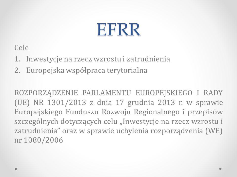 EFRR Cele Inwestycje na rzecz wzrostu i zatrudnienia