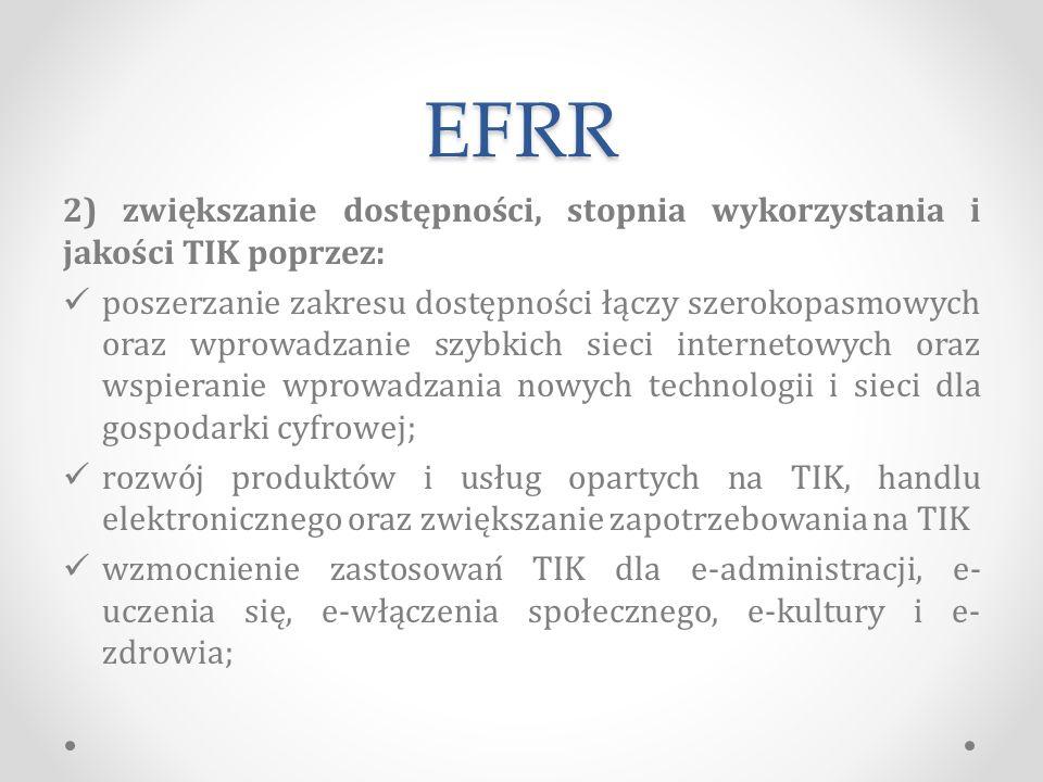 EFRR 2) zwiększanie dostępności, stopnia wykorzystania i jakości TIK poprzez:
