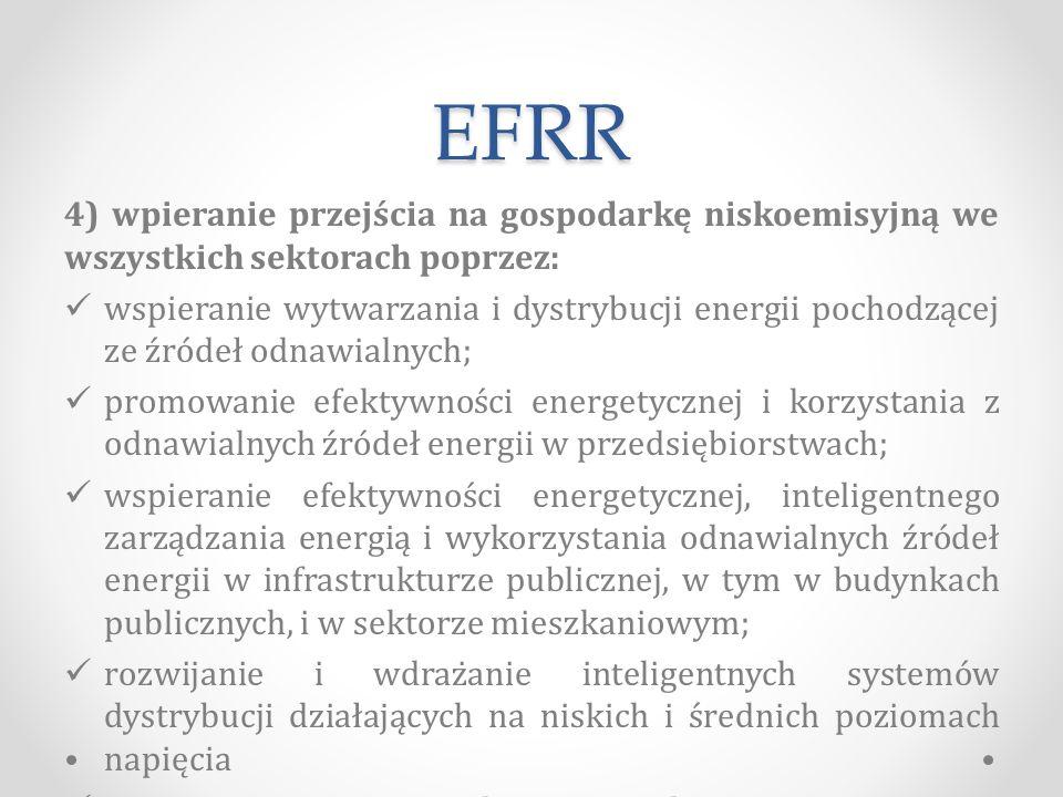 EFRR 4) wpieranie przejścia na gospodarkę niskoemisyjną we wszystkich sektorach poprzez: