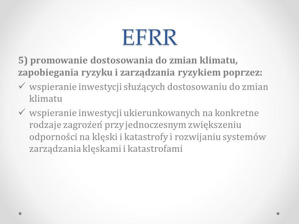 EFRR 5) promowanie dostosowania do zmian klimatu, zapobiegania ryzyku i zarządzania ryzykiem poprzez: