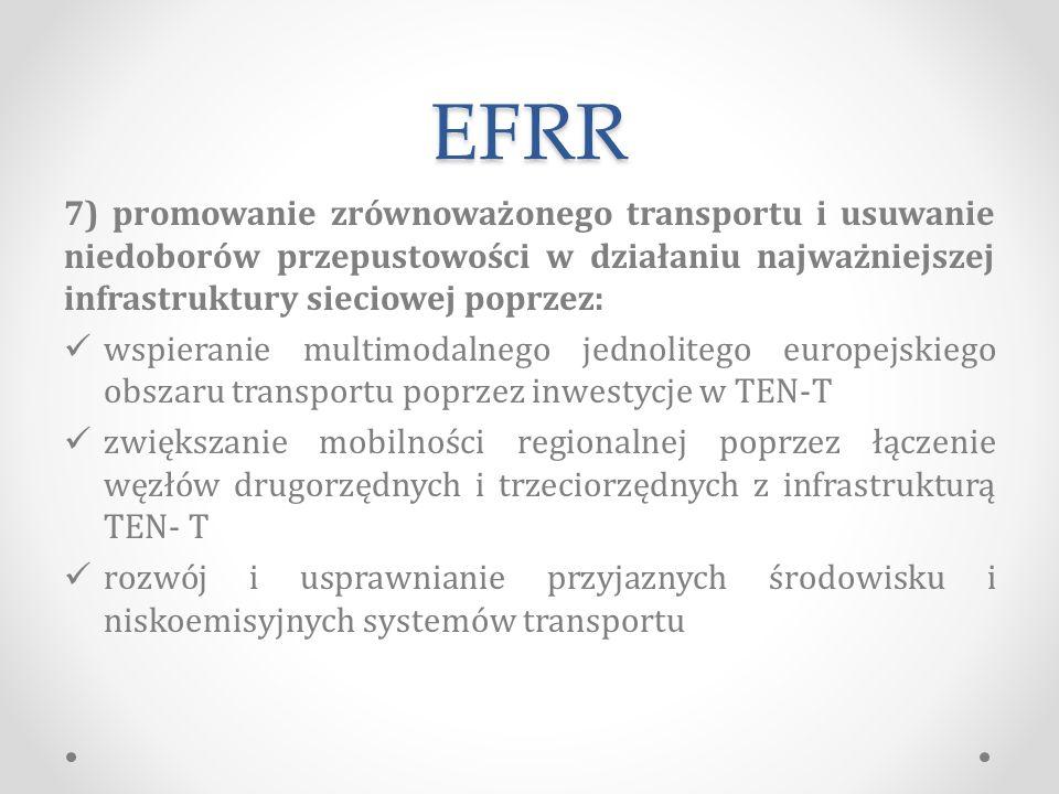 EFRR 7) promowanie zrównoważonego transportu i usuwanie niedoborów przepustowości w działaniu najważniejszej infrastruktury sieciowej poprzez: