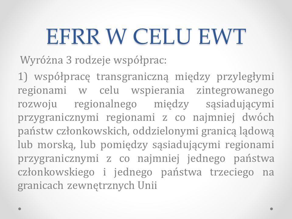 EFRR W CELU EWT Wyróżna 3 rodzeje współprac: