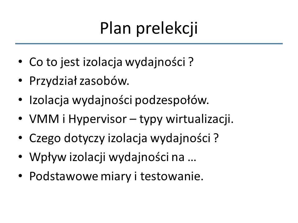 Plan prelekcji Co to jest izolacja wydajności Przydział zasobów.