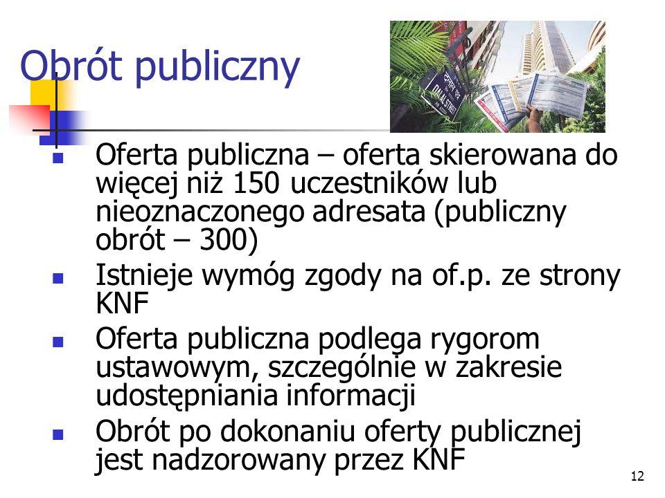 Obrót publiczny Oferta publiczna – oferta skierowana do więcej niż 150 uczestników lub nieoznaczonego adresata (publiczny obrót – 300)