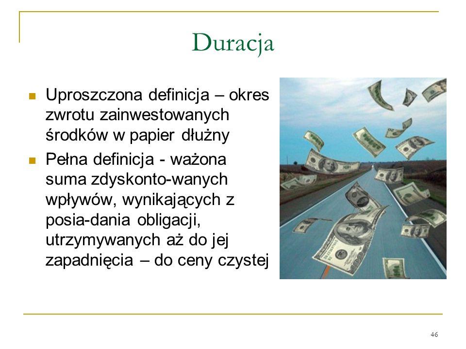 Duracja Uproszczona definicja – okres zwrotu zainwestowanych środków w papier dłużny.