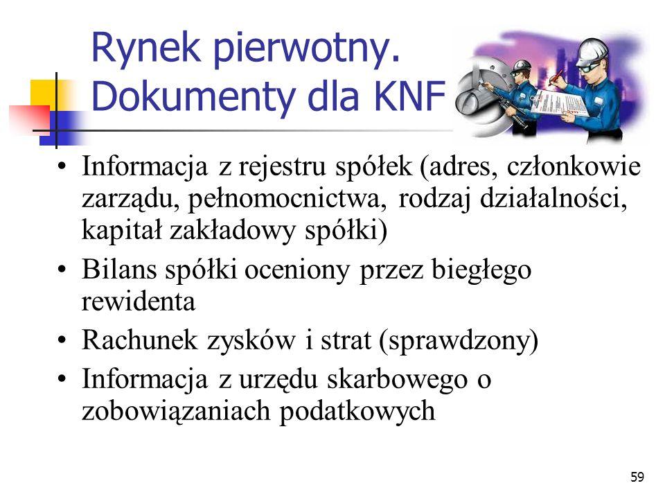 Rynek pierwotny. Dokumenty dla KNF