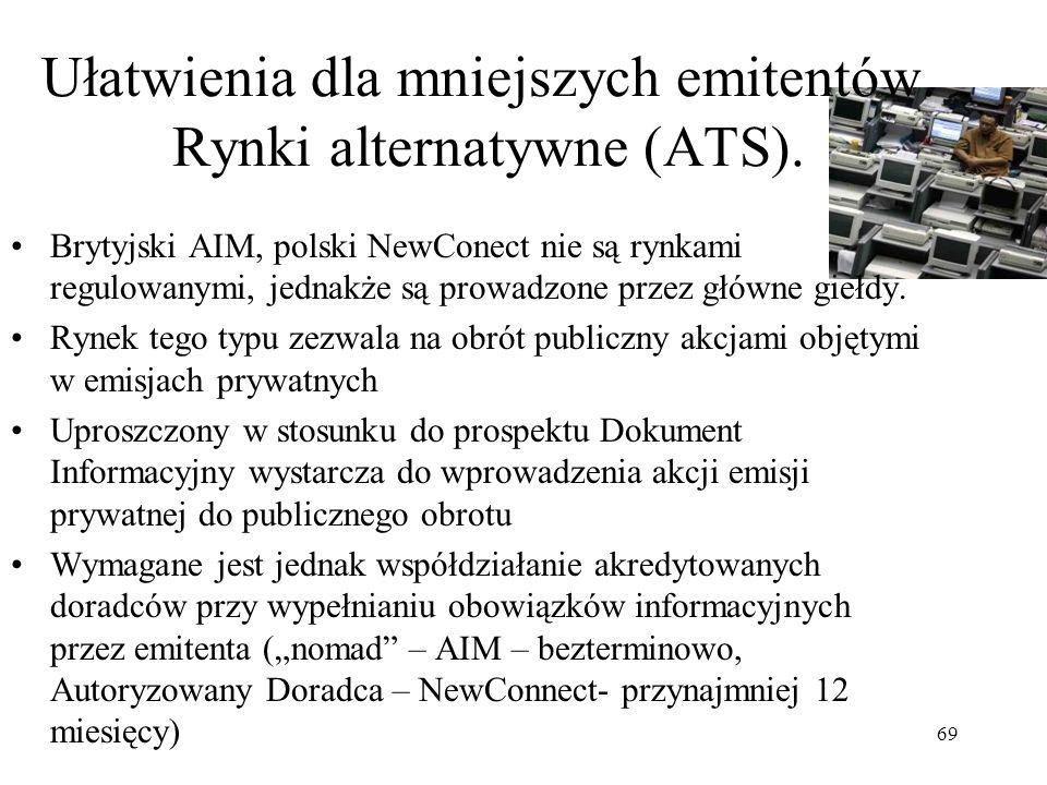 Ułatwienia dla mniejszych emitentów. Rynki alternatywne (ATS).