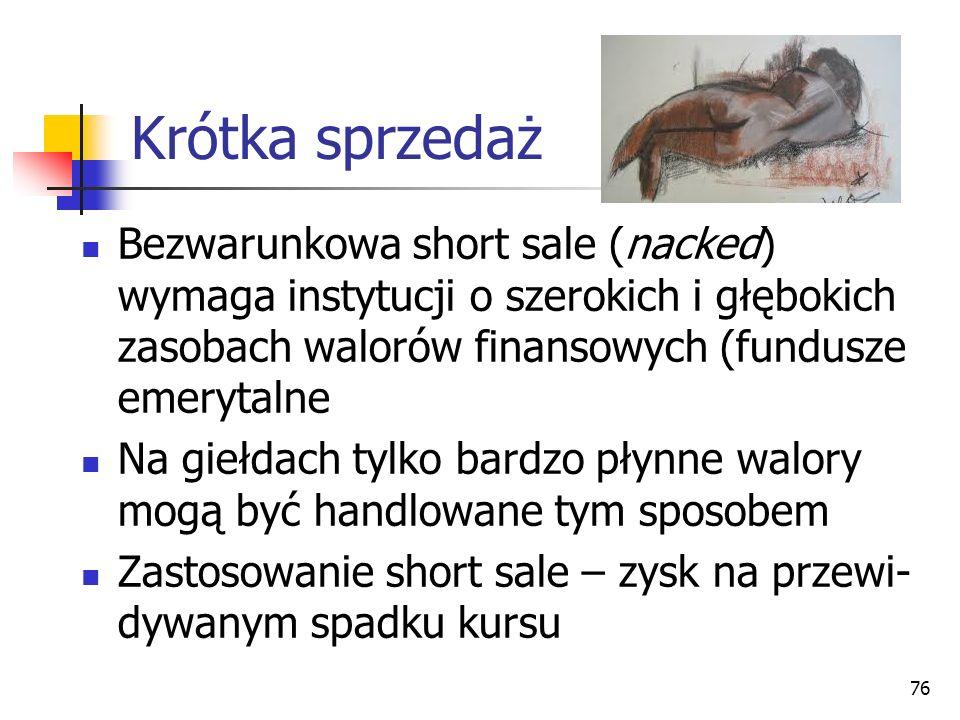 Krótka sprzedaż Bezwarunkowa short sale (nacked) wymaga instytucji o szerokich i głębokich zasobach walorów finansowych (fundusze emerytalne.