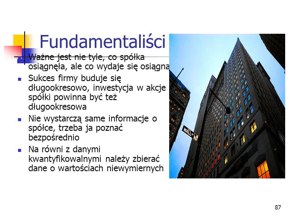 Fundamentaliści cd. Ważne jest nie tyle, co spółka osiągnęła, ale co wydaje się osiągnąć.