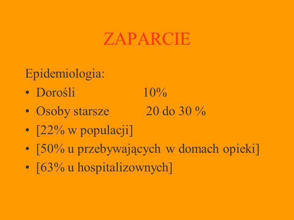 ZAPARCIE Epidemiologia: Dorośli 10% Osoby starsze 20 do 30 %