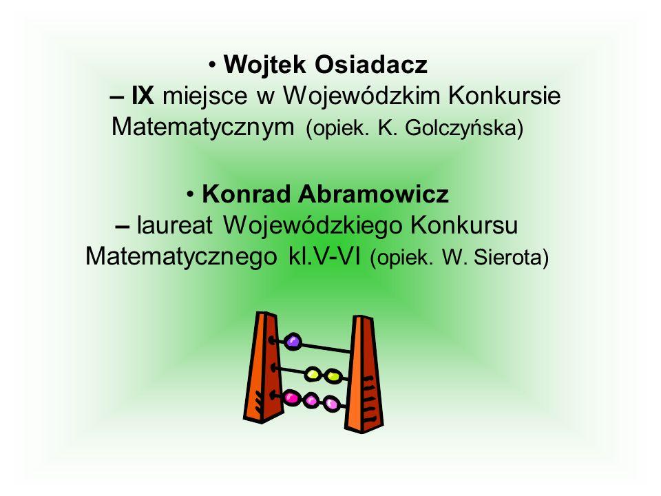 Wojtek Osiadacz – IX miejsce w Wojewódzkim Konkursie Matematycznym (opiek. K. Golczyńska)