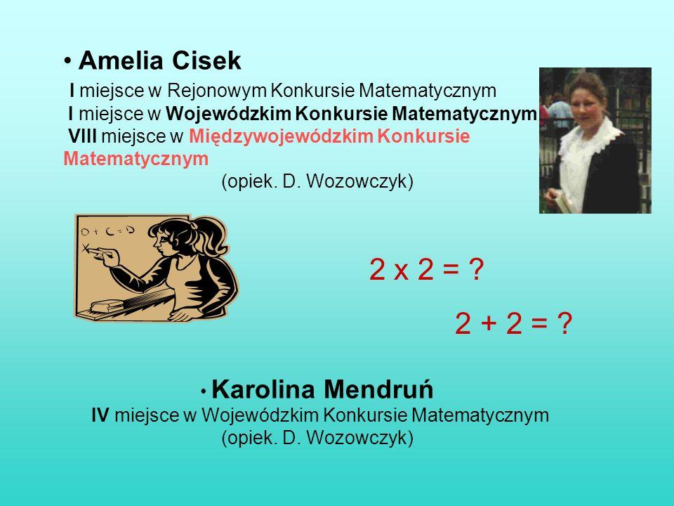 Amelia Cisek I miejsce w Rejonowym Konkursie Matematycznym I miejsce w Wojewódzkim Konkursie Matematycznym VIII miejsce w Międzywojewódzkim Konkursie Matematycznym