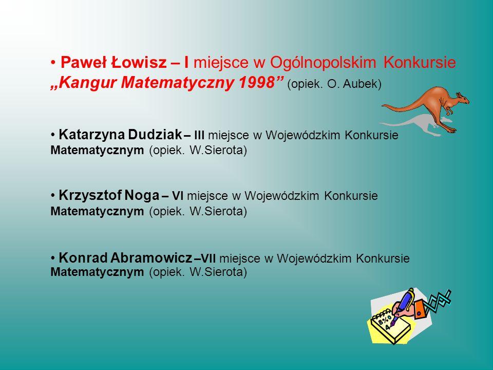 """Paweł Łowisz – I miejsce w Ogólnopolskim Konkursie """"Kangur Matematyczny 1998 (opiek. O. Aubek)"""