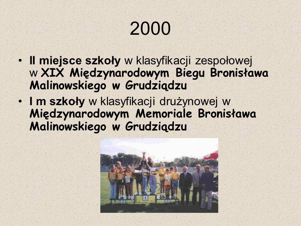 2000 II miejsce szkoły w klasyfikacji zespołowej w XIX Międzynarodowym Biegu Bronisława Malinowskiego w Grudziądzu.