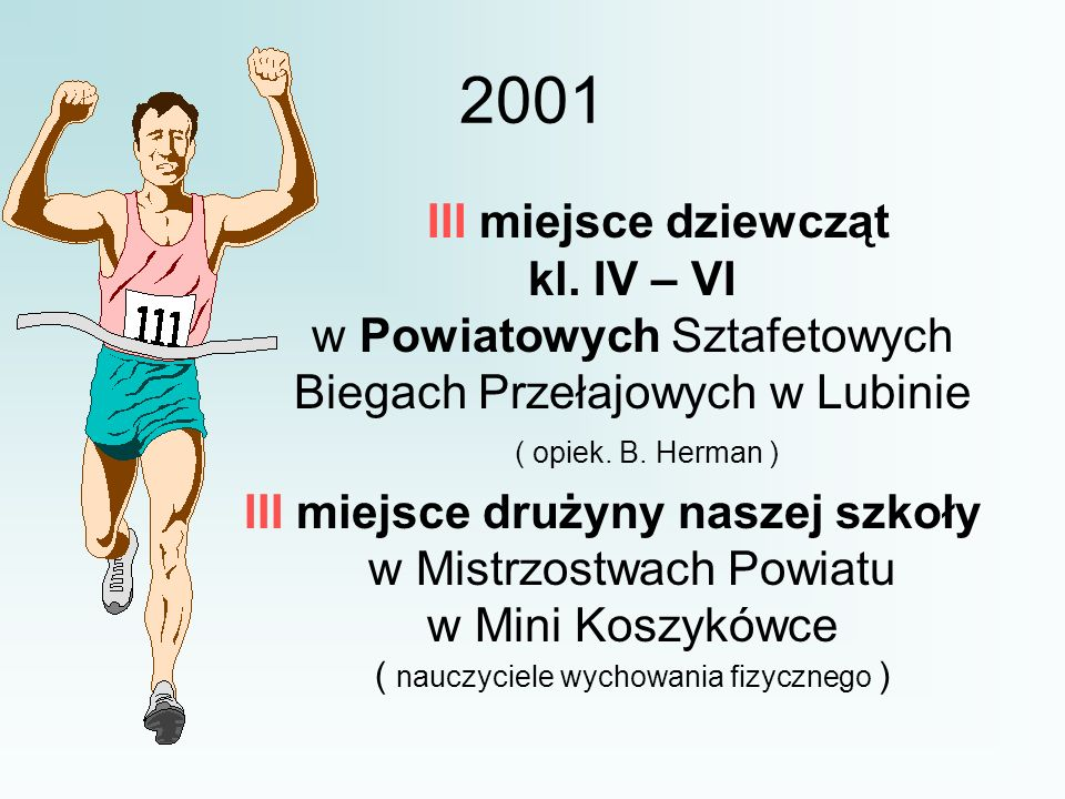 2001 III miejsce dziewcząt kl. IV – VI w Powiatowych Sztafetowych Biegach Przełajowych w Lubinie.