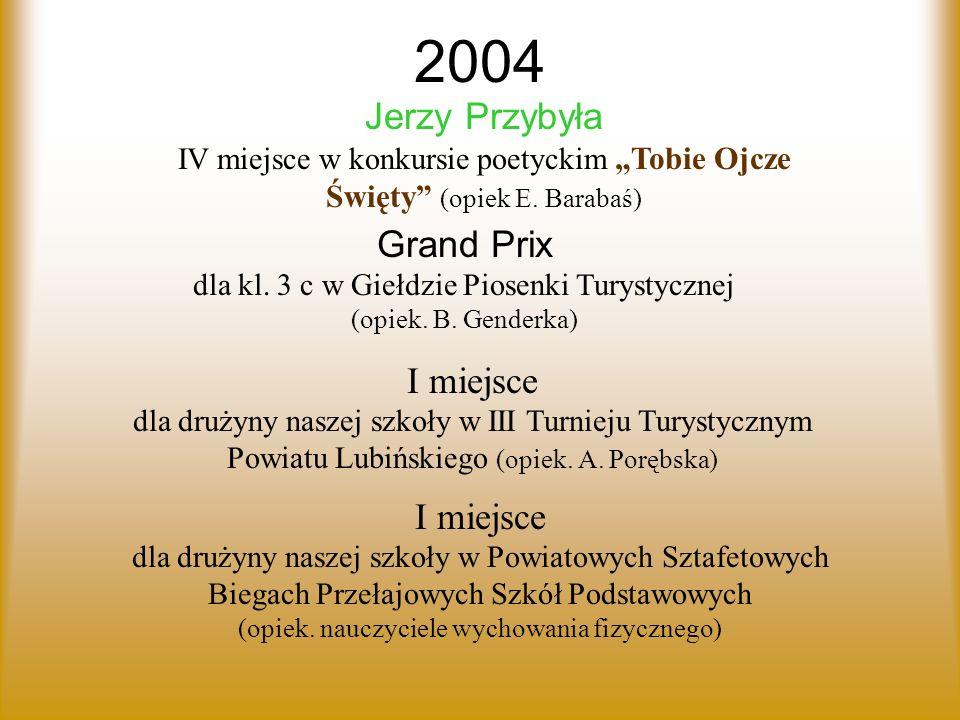 """2004 Jerzy Przybyła IV miejsce w konkursie poetyckim """"Tobie Ojcze Święty (opiek E. Barabaś)"""