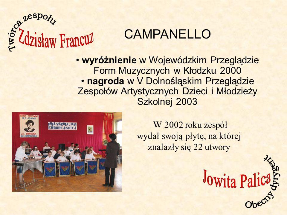Twórca zespołu Zdzisław Francuz. CAMPANELLO. wyróżnienie w Wojewódzkim Przeglądzie Form Muzycznych w Kłodzku 2000.
