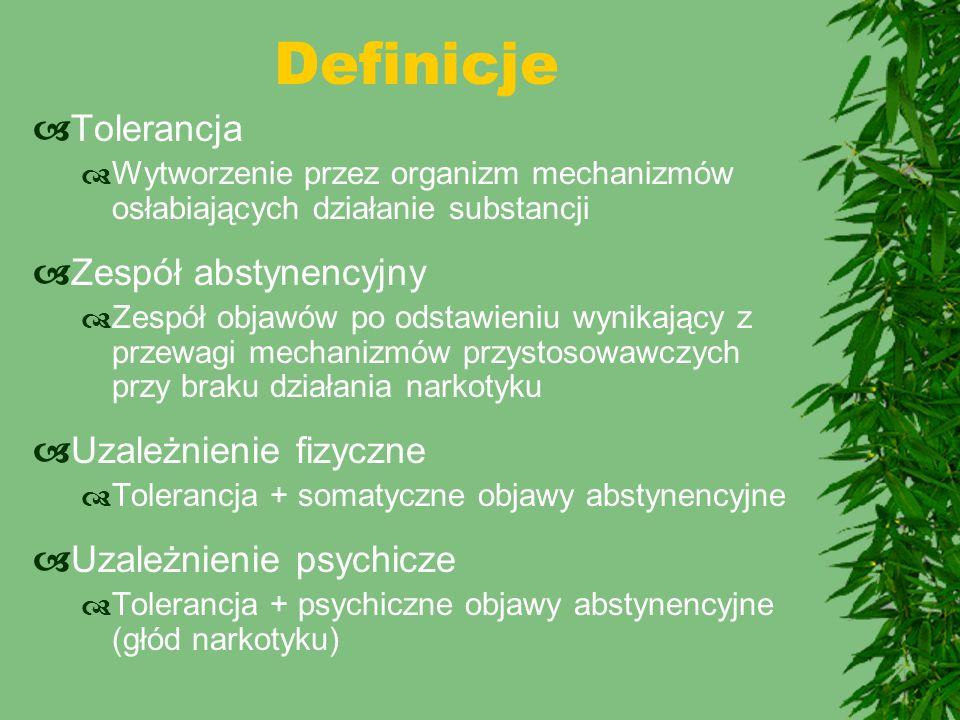 Definicje Tolerancja Zespół abstynencyjny Uzależnienie fizyczne