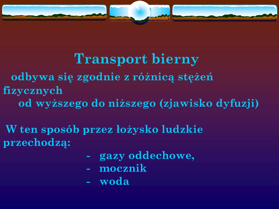 Transport bierny odbywa się zgodnie z różnicą stężeń fizycznych od wyższego do niższego (zjawisko dyfuzji) W ten sposób przez łożysko ludzkie przechodzą: - gazy oddechowe, - mocznik - woda