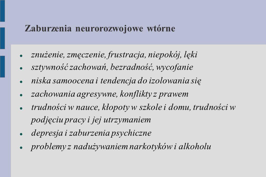Zaburzenia neurorozwojowe wtórne