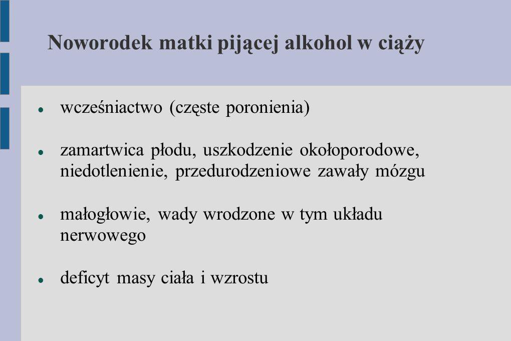 Noworodek matki pijącej alkohol w ciąży