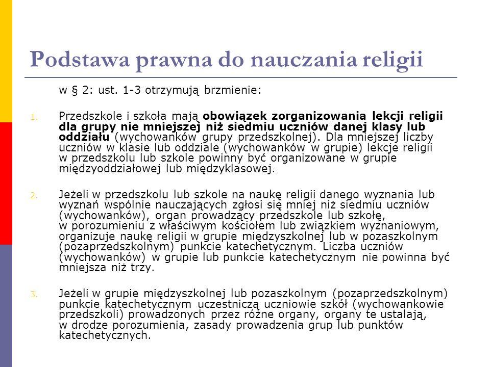 Podstawa prawna do nauczania religii