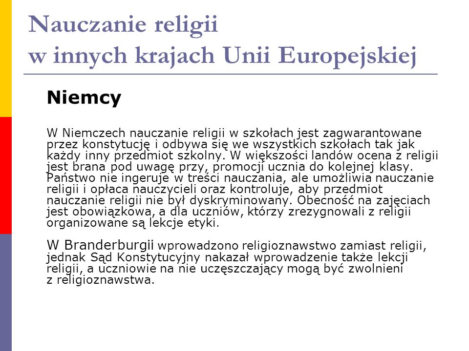 Nauczanie religii w innych krajach Unii Europejskiej