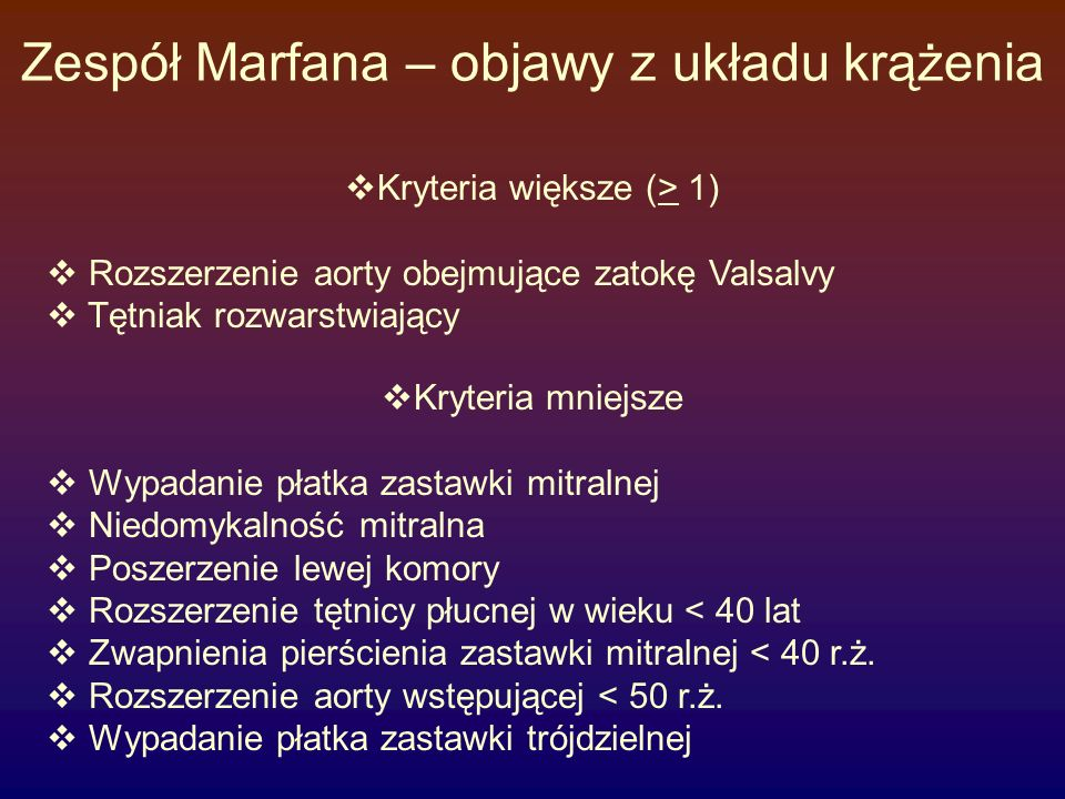 Zespół Marfana – objawy z układu krążenia