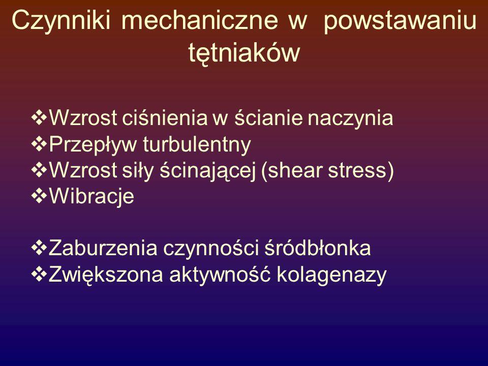 Czynniki mechaniczne w powstawaniu tętniaków