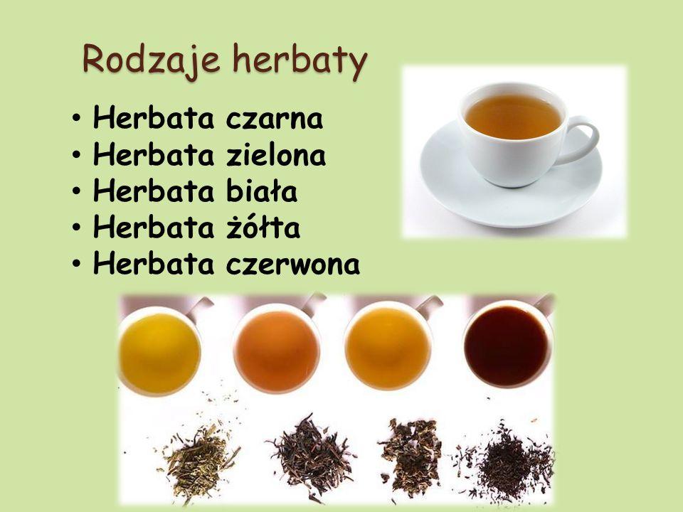 Rodzaje herbaty Herbata czarna Herbata zielona Herbata biała