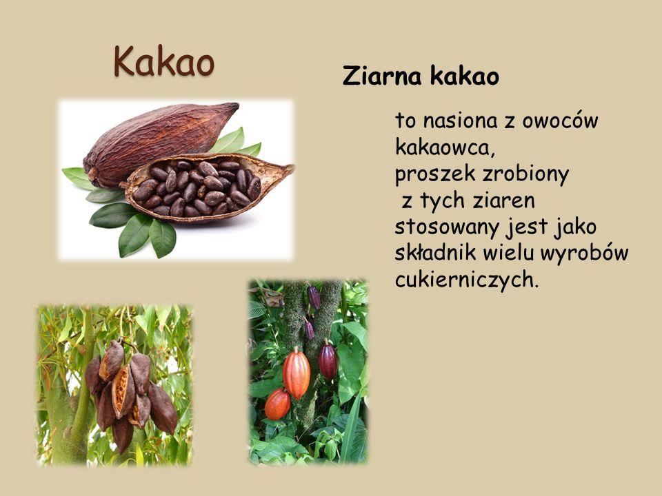 Kakao Ziarna kakao to nasiona z owoców kakaowca, proszek zrobiony