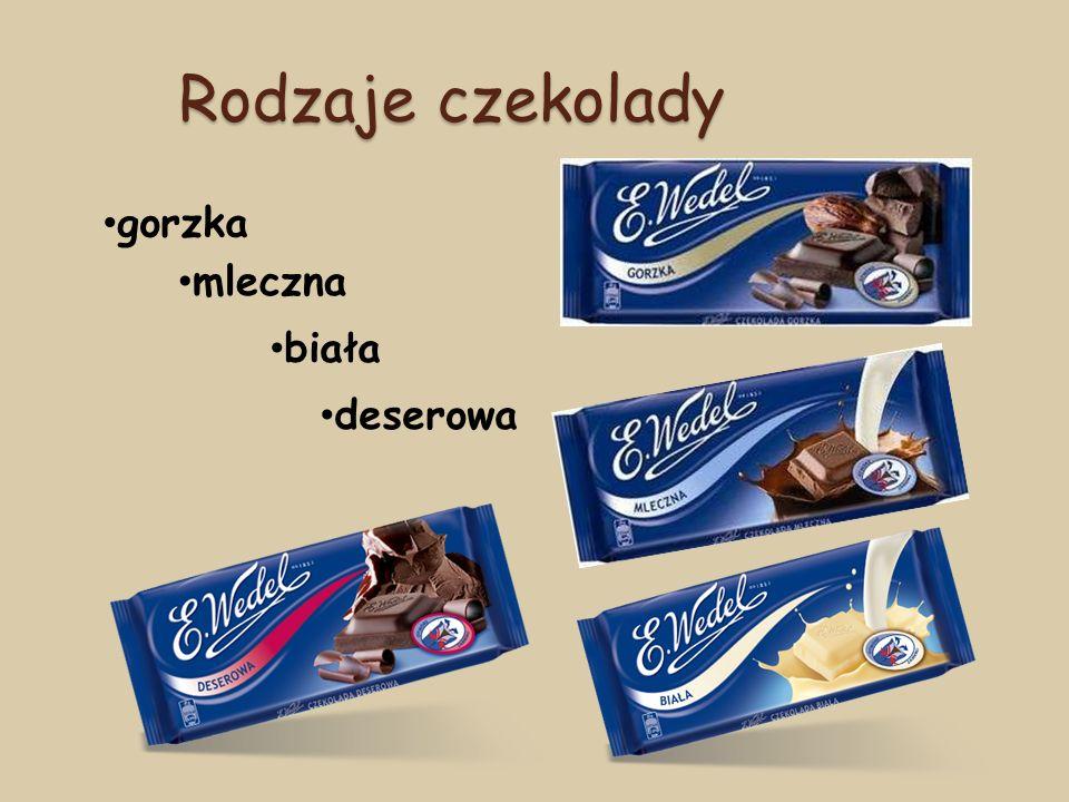 Rodzaje czekolady gorzka mleczna biała deserowa