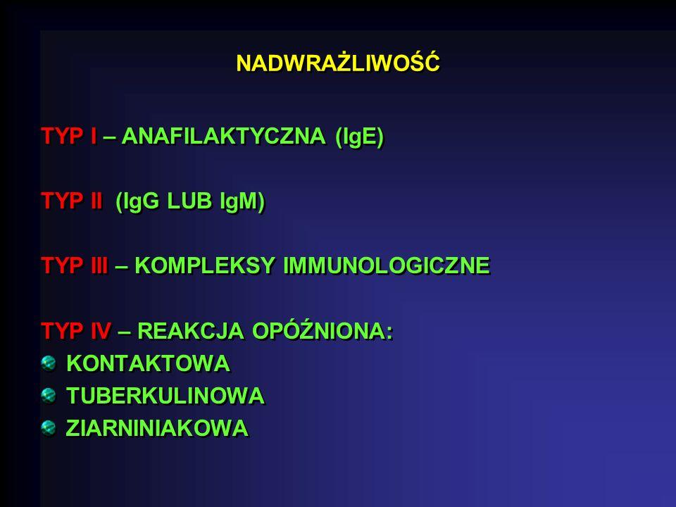 NADWRAŻLIWOŚĆ TYP I – ANAFILAKTYCZNA (IgE) TYP II (IgG LUB IgM) TYP III – KOMPLEKSY IMMUNOLOGICZNE.