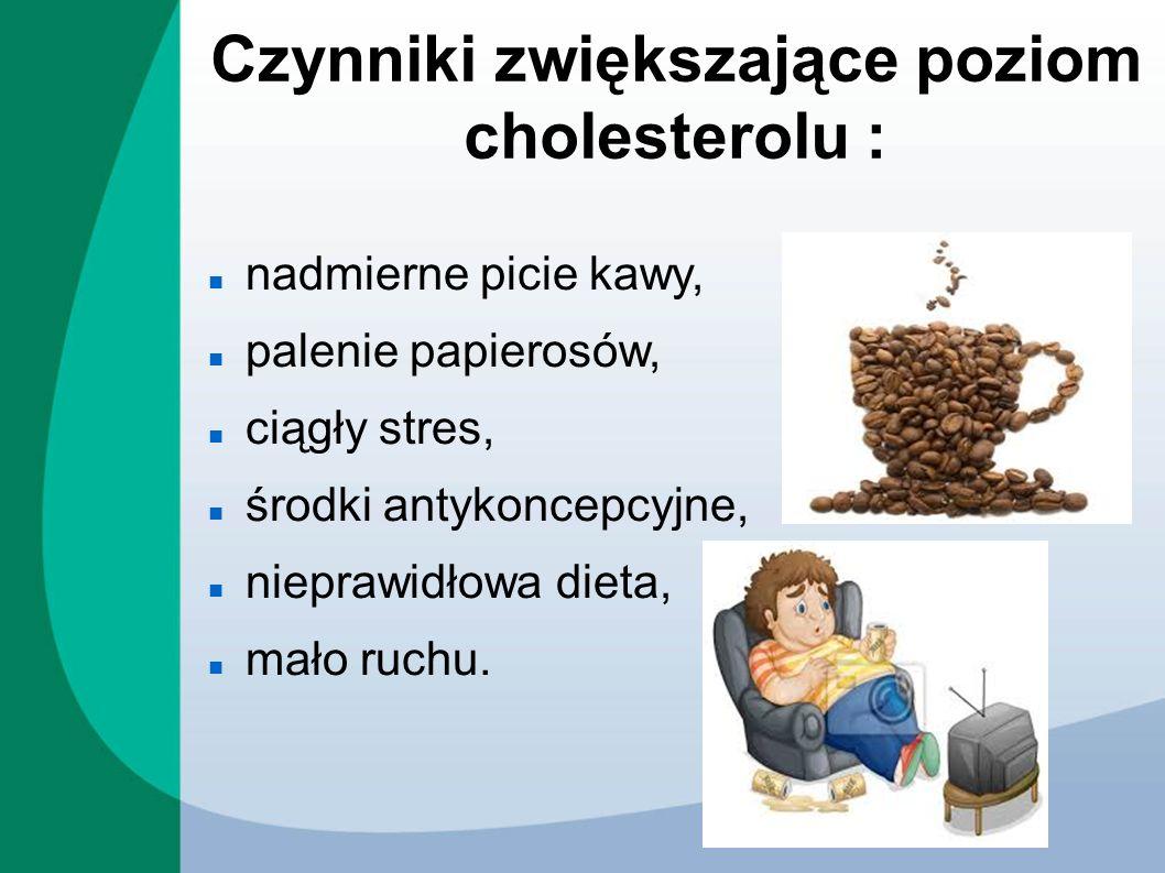 Czynniki zwiększające poziom cholesterolu :