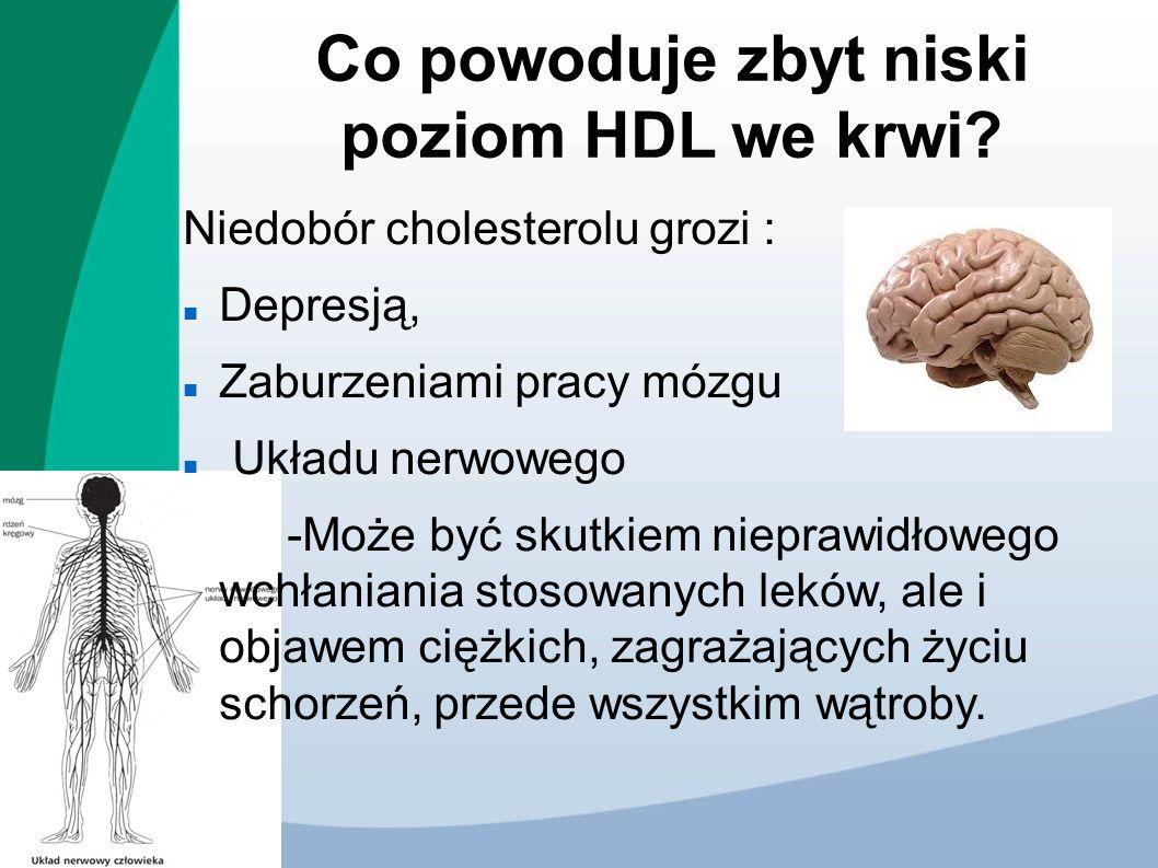 Co powoduje zbyt niski poziom HDL we krwi