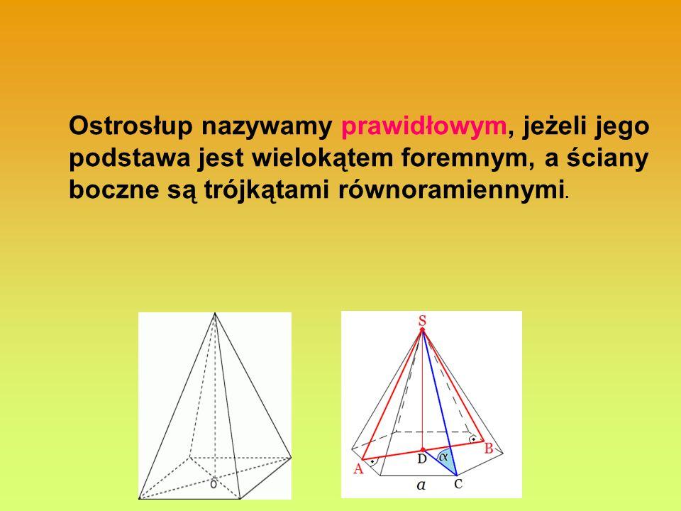 Ostrosłup nazywamy prawidłowym, jeżeli jego podstawa jest wielokątem foremnym, a ściany boczne są trójkątami równoramiennymi.