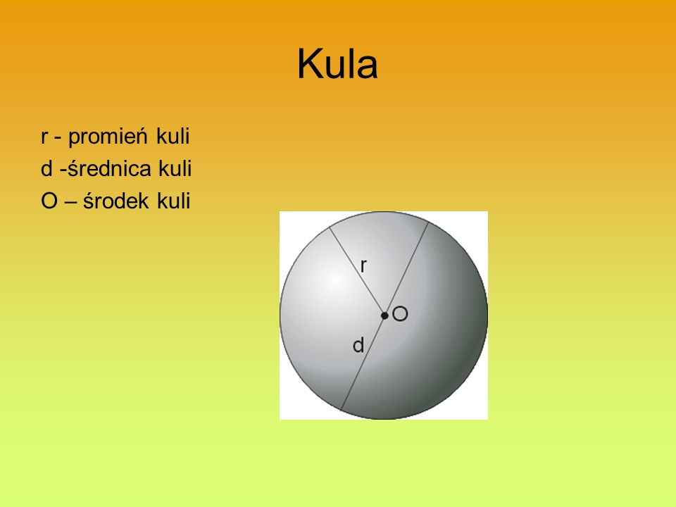 Kula r - promień kuli d -średnica kuli O – środek kuli