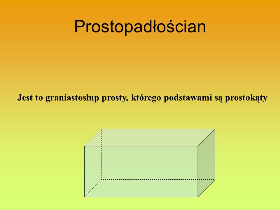 Prostopadłościan Jest to graniastosłup prosty, którego podstawami są prostokąty