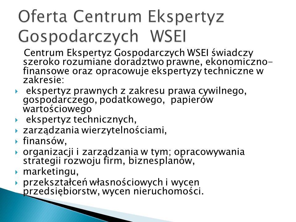 Oferta Centrum Ekspertyz Gospodarczych WSEI